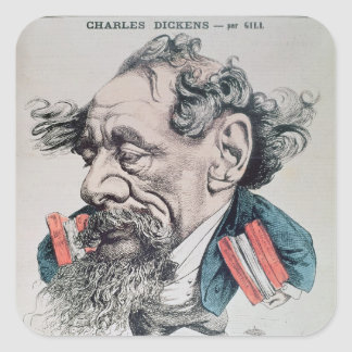 Charles Dickens astride the English Channel Square Sticker