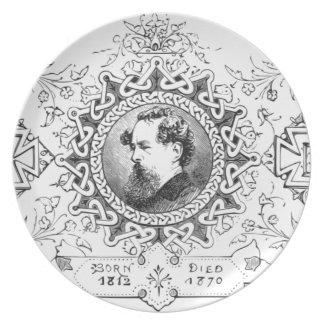 Charles Dickens banner famous novelist Dinner Plate