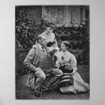 Charles Dickens con dos de sus hijas Póster