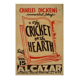 Charles Dickens Cricket On The Hearth Vintage WPA Poster