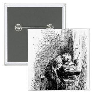 Charles Dickens en la fábrica que se ennegrece Pin Cuadrada 5 Cm