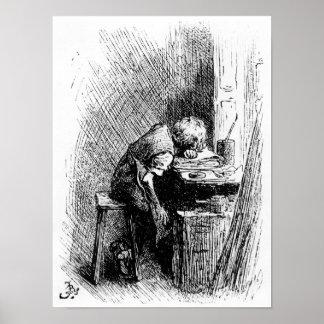 Charles Dickens en la fábrica que se ennegrece Póster