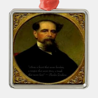 Charles Dickens & Heartfelt Quote Metal Ornament
