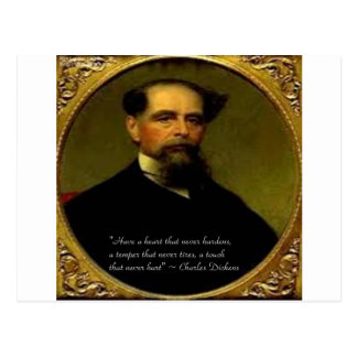 Charles Dickens & Heartfelt Quote Postcard