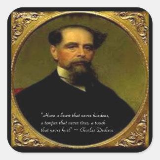 Charles Dickens & Heartfelt Quote Square Sticker
