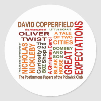 Charles Dickens Novels Classic Round Sticker