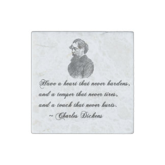 Charles Dickens Our Mutual Friend quote Stone Magnet
