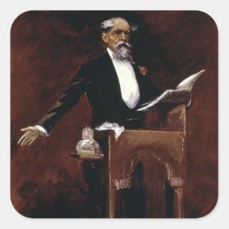 Charles Dickens Calcomania Cuadradas Personalizada