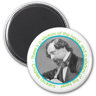 Charles Dickens Portrait With Quote Magnet