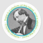 Charles Dickens Portrait With Quote Classic Round Sticker