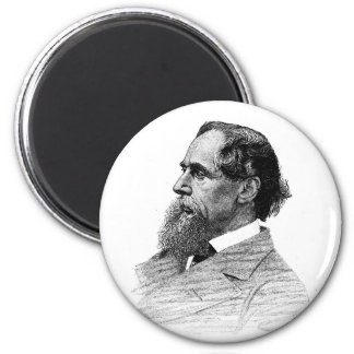 Charles Dickens Profile 2 Inch Round Magnet