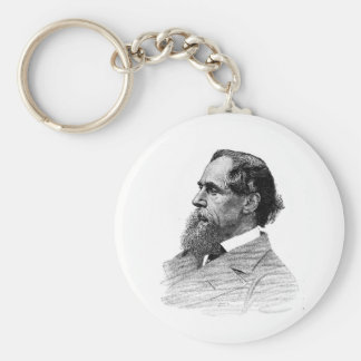 Charles Dickens Profile Basic Round Button Keychain