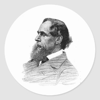 Charles Dickens Profile Classic Round Sticker