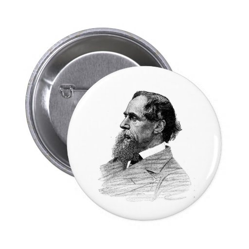 Charles Dickens Profile Pinback Button