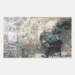 Charles Dickens que soña a los pegatinas Pegatina Rectangular
