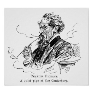 Charles Dickens. Un tubo reservado en el Cantebury Póster