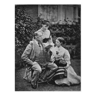 Charles Dickens with two of his daughters Postcard