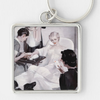Charles Edward Chambers: Manicure Silver-Colored Square Keychain