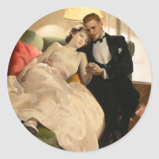Charles Edward Chambers: Romantic Couple Classic Round Sticker