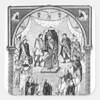 Charles el calvo, rey de Francia Calcomanías Cuadradass