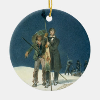 Charles Fellows with William Hawes, Plants a Baton Ceramic Ornament