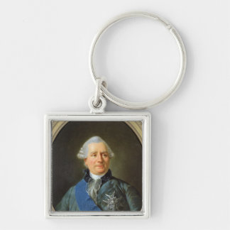Charles Gravier  Count of Vergennes Silver-Colored Square Keychain