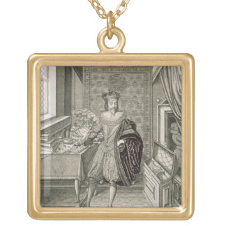 Charles I (1600-49) (engraving) Square Pendant Necklace