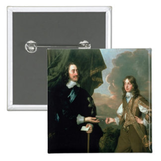 Charles I  and James, Duke of York , c.1647 2 Inch Square Button