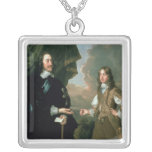 Charles I  and James, Duke of York , c.1647 Square Pendant Necklace
