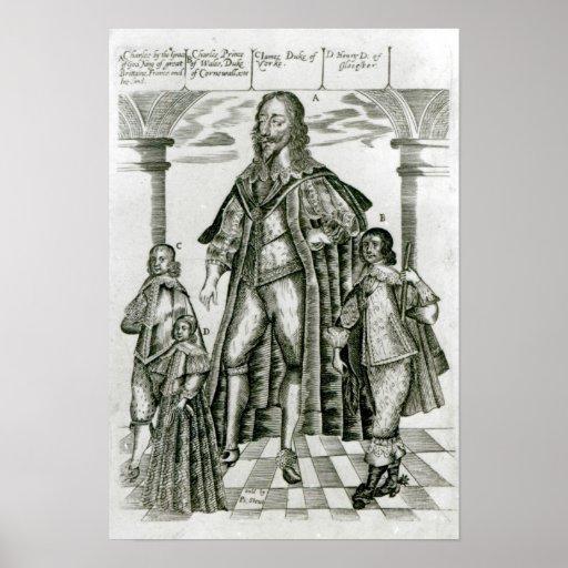 Charles I con sus niños Impresiones