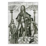 Charles I con sus niños Tarjeta