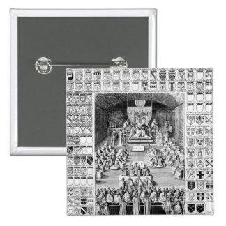 Charles I en la Cámara de los lores Pin Cuadrada 5 Cm
