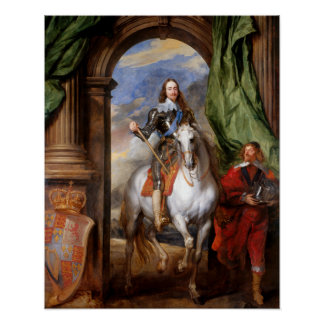 Charles I on Horseback by Van Dyck Poster