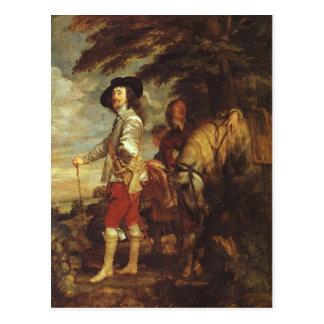 Charles I, rey de Inglaterra en la caza de Van Tarjetas Postales
