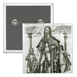 Charles I with his Children 2 Inch Square Button