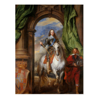 Charles I with M de St Antoine by Anthony van Dyck Postcard
