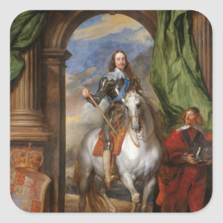 Charles I with M de St Antoine by Anthony van Dyck Square Stickers