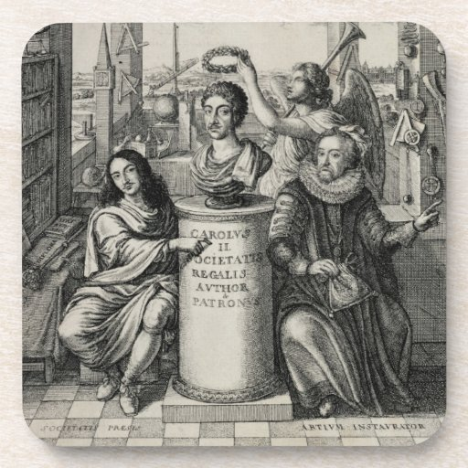 Charles II (1630-85) as Patron of the Royal Societ Drink Coasters