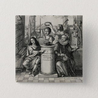 Charles II (1630-85) as Patron of the Royal Societ Pinback Button