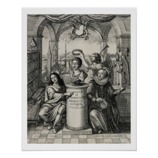 Charles II (1630-85) as Patron of the Royal Societ Poster