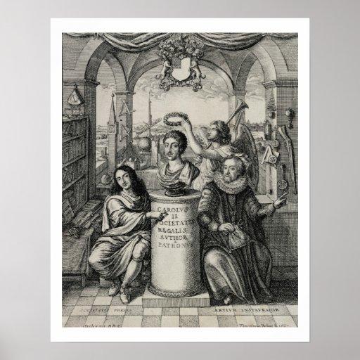 Charles II (1630-85) como patrón del Societ real Poster
