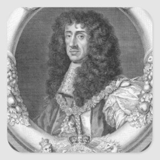 Charles II (1630-85) King of Great Britain and Ire Square Sticker