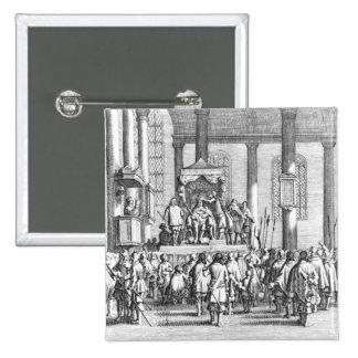 Charles II coronado en el Scone, 1651 Pin Cuadrado