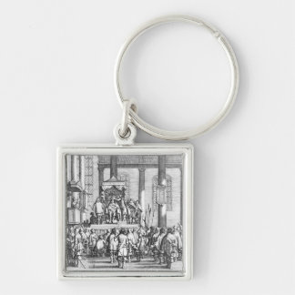 Charles II  Crowned at Scone, 1651 Silver-Colored Square Keychain