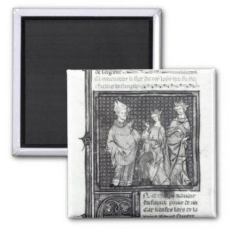 Charles III el simple con su esposa y la suya Imán Para Frigorífico