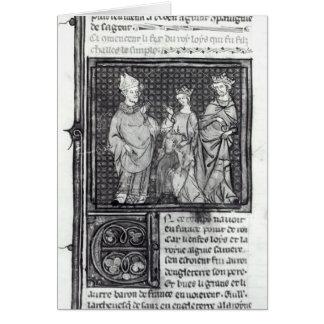 Charles III el simple con su esposa y la suya Tarjeton