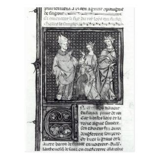Charles III el simple con su esposa y la suya Postal