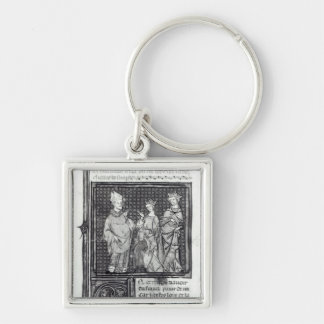Charles III  the Simple with his wife and his Silver-Colored Square Keychain