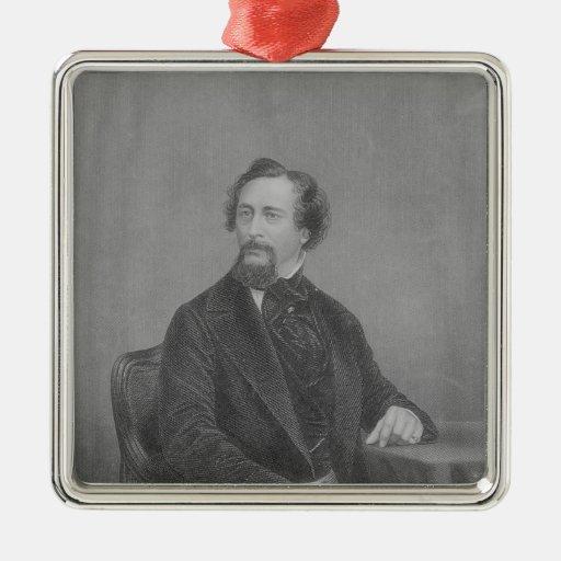 Charles Juan Huffam Dickens Adorno Cuadrado Plateado