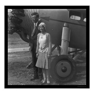 Charles Lindbergh and Wife next to Airplane 1929 Poster